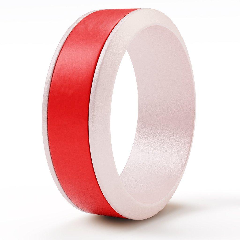 unityringシリコンメンズ&レディース用ウェディングリング – – 究極ウェディングバンド、耐久性、安全、プレミアム標準&スリム設計 (White、快適なフィット、簡単にTake Off Red B077H16TXF Double Ring#1 single (White w Red line) UR-Men-Single-DR#1-12 UR-Men-Single-DR#1-12|Double Ring#1 single (White w Red line), AMBER:bc7e8d61 --- gamenavi.club
