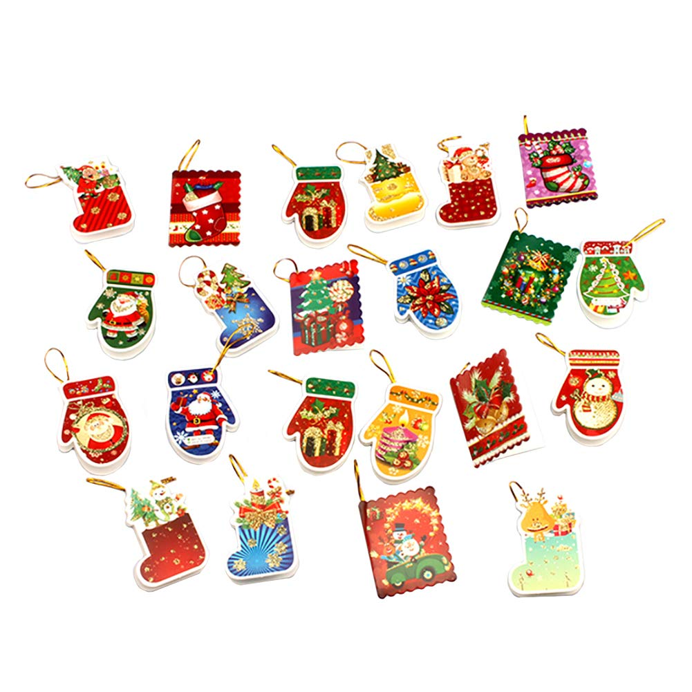 Lovind Christmas Tree Hanging Ornaments Decoration Cartoon Greeting Card Pendant Craft Accessories Christmas Tree Ornaments Party Supplies Gifts x Pack of 22 (Random Style)