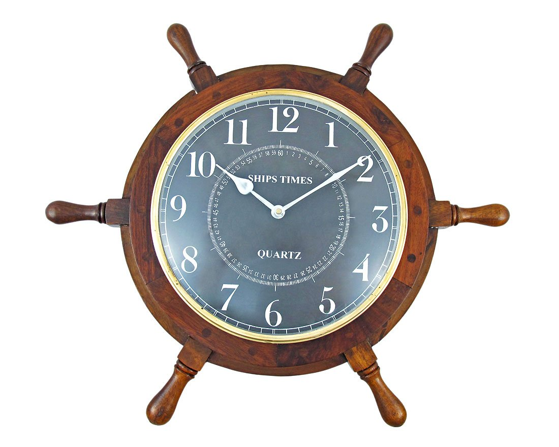 Things2Die4 19 Inch Diameter Nautical Wooden Ships Wheel Clock