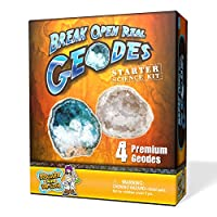 Geode Starter Rock Science Kit - Crack Open 4 Amazing Rocks and Find Crystals!