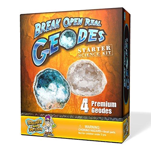 Geode Starter Rock Science Kit – Crack Open 4 Amazing Rocks and Find Crystals! ()