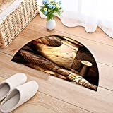 NALAHOMEQQ Flowers Semicircle Carpet Ancient metal armor - iron detail Thickening Mats(35.4x23.6 INCH)