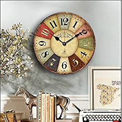 Vintage Rustic Wall Clock, Eruner 16 French Paris Style *Cafe De La Tour* London Country Non-Ticking Wooden Clock Dial Timer for Home Livingroom Bedroom Office Cafe Bar Decor(16, #01)