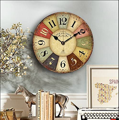 Eruner 14-inch Paris French Style Wood Clock, Rustic French CountryCafe De La Tour Shabby Chic Retro Style Non-Ticking Wooden Wall Clock Kitchen Livingroom Bedroom Decoration 14 , 01