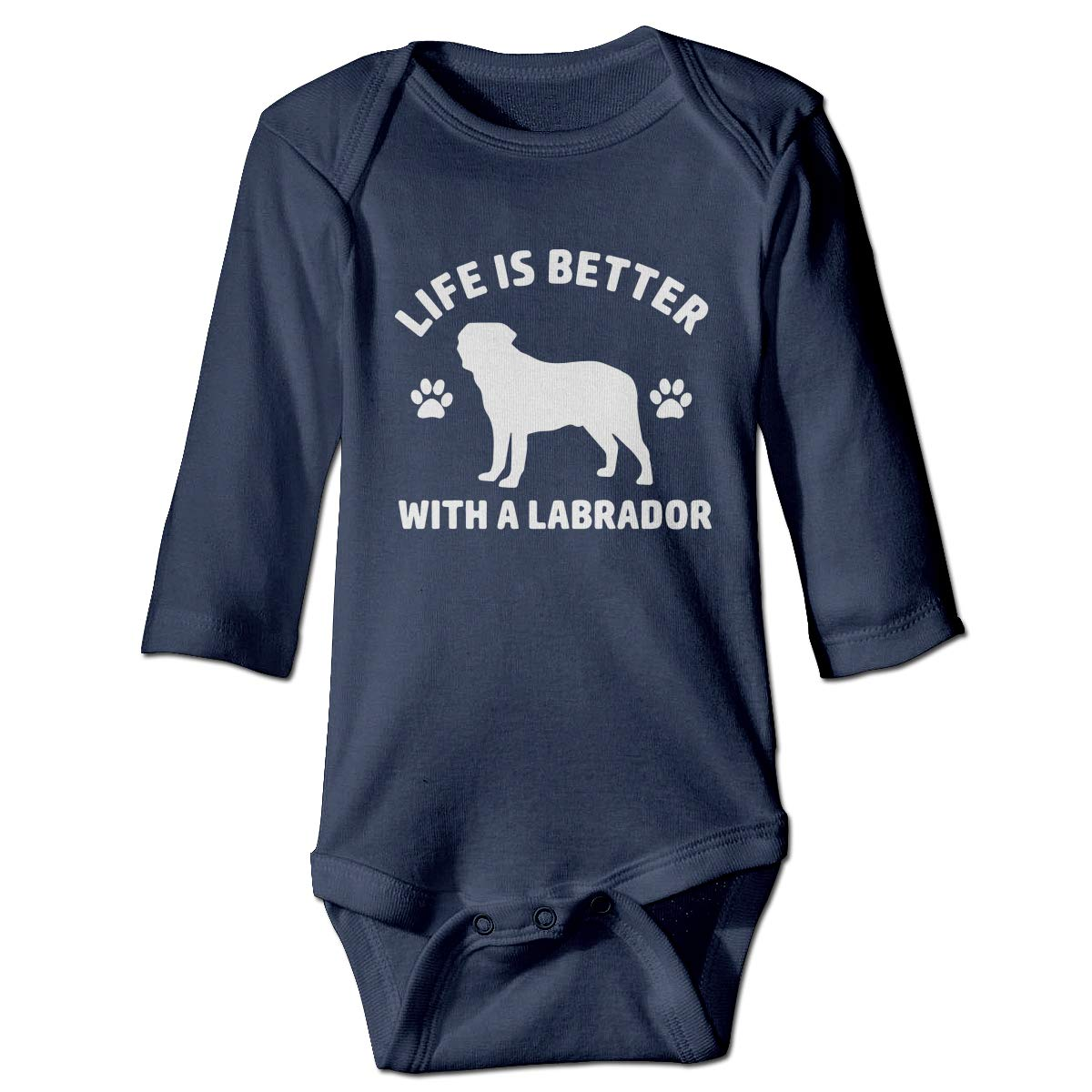 Just Born Baby Girls Baby Boys Girls Romper Bodysuit Jumpsuit Life is Better with A Labrador Long Sleeve Funny Climb Jumpsuit
