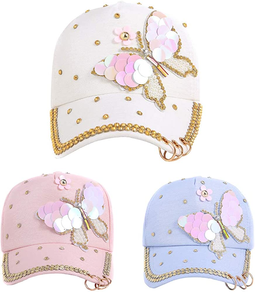 ink2055 Girls Hats Fashion Woman Baseball Cap Hat Butterfly Faux Pearl Sequins Travel Snapback Sun Cap Hat