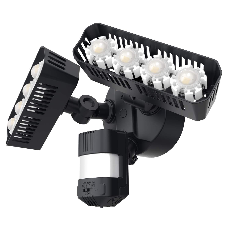 Upgraded SANSI LED Security Motion Sensor Outdoor Lights, 36W (250W Incandescent Equivalent) 3600lm, 5000K Daylight, Dusk to Dawn, IP65 Waterproof, ETL Listed Floodlights, Black