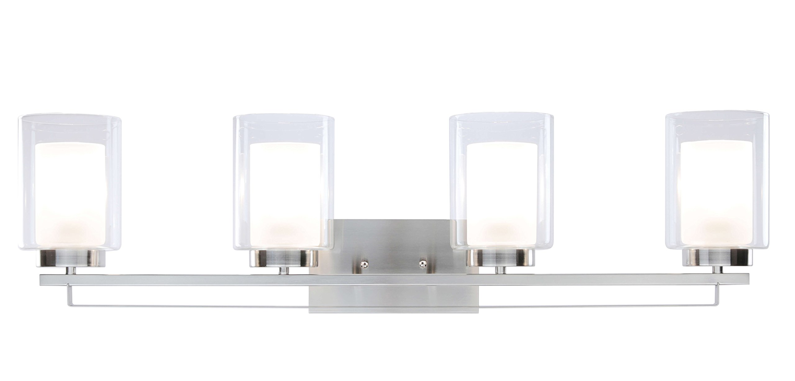 Wall Light 4 Light Bathroom Vanity Lighting with Dual Glass Shade in Brushed Nickel Indoor Modern Wall Mount Light for Bathroom & Kitchen XiNBEi-Lighting XB-W1195-4-BN by XiNBEi Lighting (Image #2)