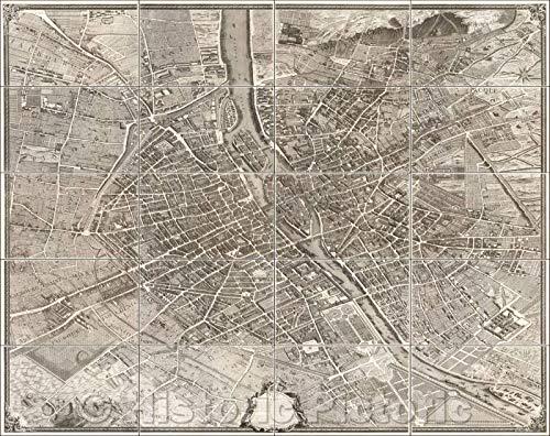 Historic Map - Plan de Paris commencé l'année, 1739, Michel-Étienne Turgot - Vintage Wall Art 44in x 35in