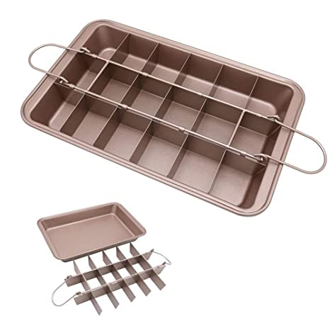 Amazon.com: Bandeja de horno Brownie Pan, antiadherente, con ...
