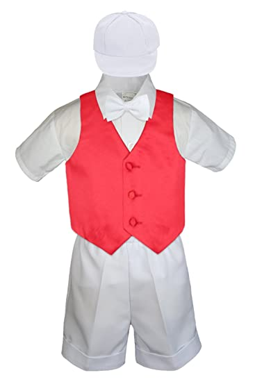 e2b47e408 Amazon.com  5pc Formal Baby Toddler Boy Red Vest White Shorts Suit ...