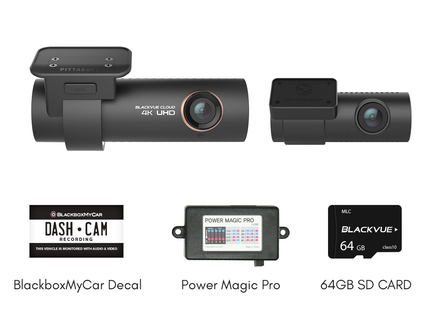Blackvue DR900S-2CH with Power Magic Pro Hardwire Kit 2-Channel | 4K Dashcam | 64GB SD Card