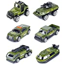 T.H. Metal Military Vehicles Playset Alloy Models Car Mini Army Tank Die-cast Truck Toy for Kids Boys ,6 Pack