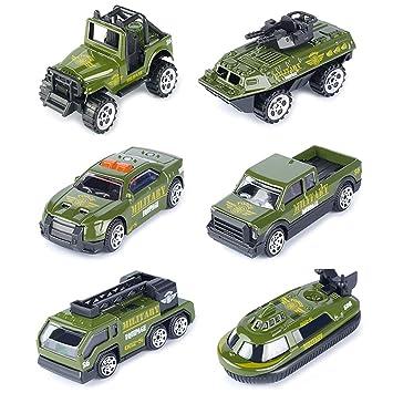 TH Vehículos Militares Conjunto Mini Coches Escala 1:64 Juego Juguetes de Colección (Pack de 6)
