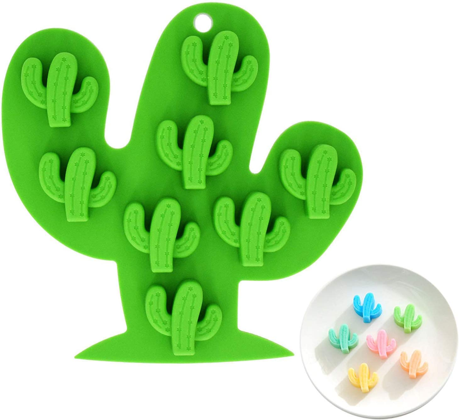 Fewo 8-Cavity Small Size Cactus Ice Cube Tray, Food-grade Silicone Mold for Chocolate, Candy, Cookie, Fondant, Jello, Mini Soap, Baking, Bath Bomb, Candle