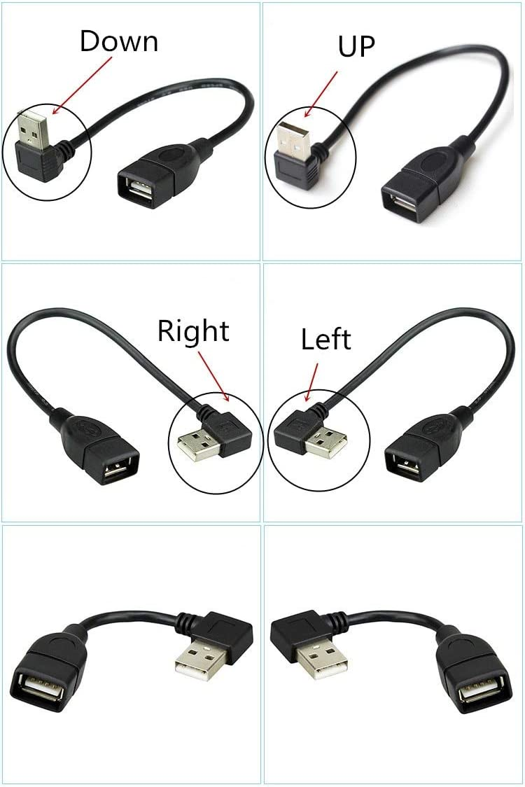 Computer Cables 10pcs//lot 10cm 20cm USB 2.0 A Male to Female 90 Angled Extension Adapter Cable USB2.0 M//F Right//Left//Down//up Black Cable Cord Cable Length: 20cm, Color: Right