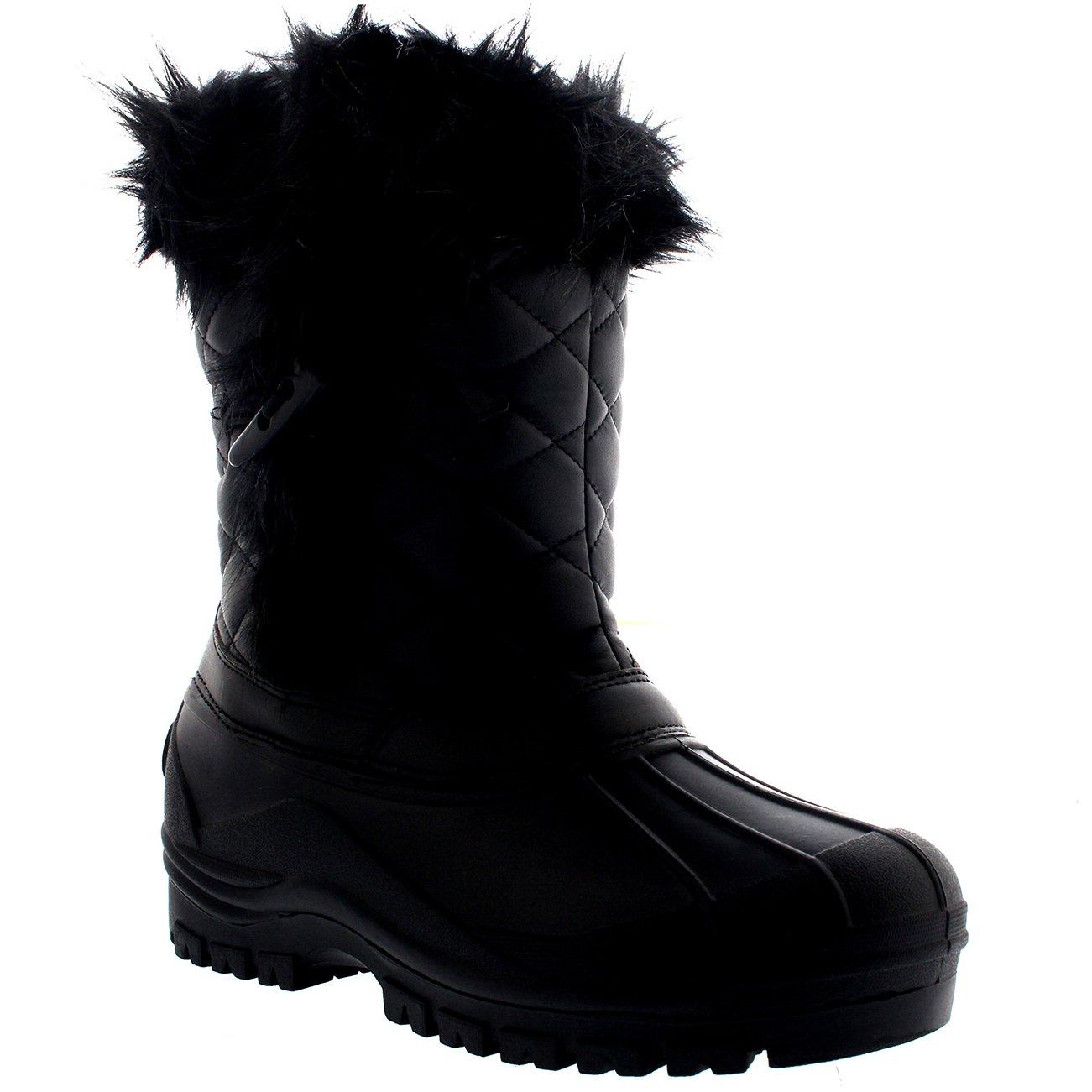 Polar Mujer Toggle Pato Invierno Térmico Suela De Goma Nieve Impermeable Mitad De La Pantorrilla Botas - Negro Cuero - UK5/EU38 - YC0399: Amazon.es: Zapatos ...