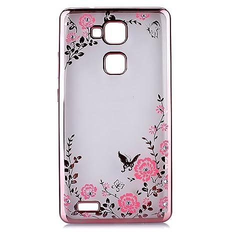Huawei Mate 7 Case Cover?Uposao für Huawei Mate 7 Hülle Bling Diamond Roségold Geheimer Garten Rosa Schmetterling Blumen Must