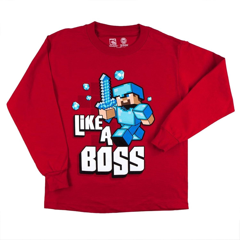 Amazon jinx minecraft boys big boys short sleeve t shirt minecraft big boys 8 20 like a boss youth long sleeve t shirt gamestrikefo Choice Image