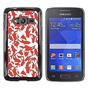 TopCaseStore / la caja del caucho duro de la cubierta de protección de la piel - Whales Sharks Red White Art Painting - Samsung Galaxy Ace 4 G313 SM-G313F