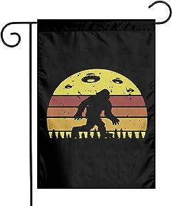 ZZATAA Bigfoot Retro Alien Invasion UFO Garden Flag Decoration Banner Decorative Sweet Home Yard Festival Outdoor 12X18inch