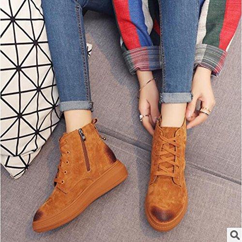 botines PU Marrón Otoño Zapatos Confort Casual de Toe Invierno Black Plano redondeado Botas de Negro Botines HSXZ Mujer 7xgnga