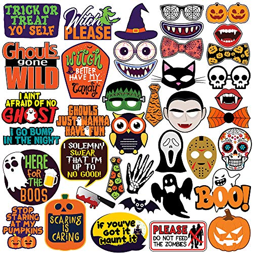 Funny Halloween Photos (Halloween Party Photo Booth Props - 40 pcs - Trick or Treat Party Decorations, Supplies &)