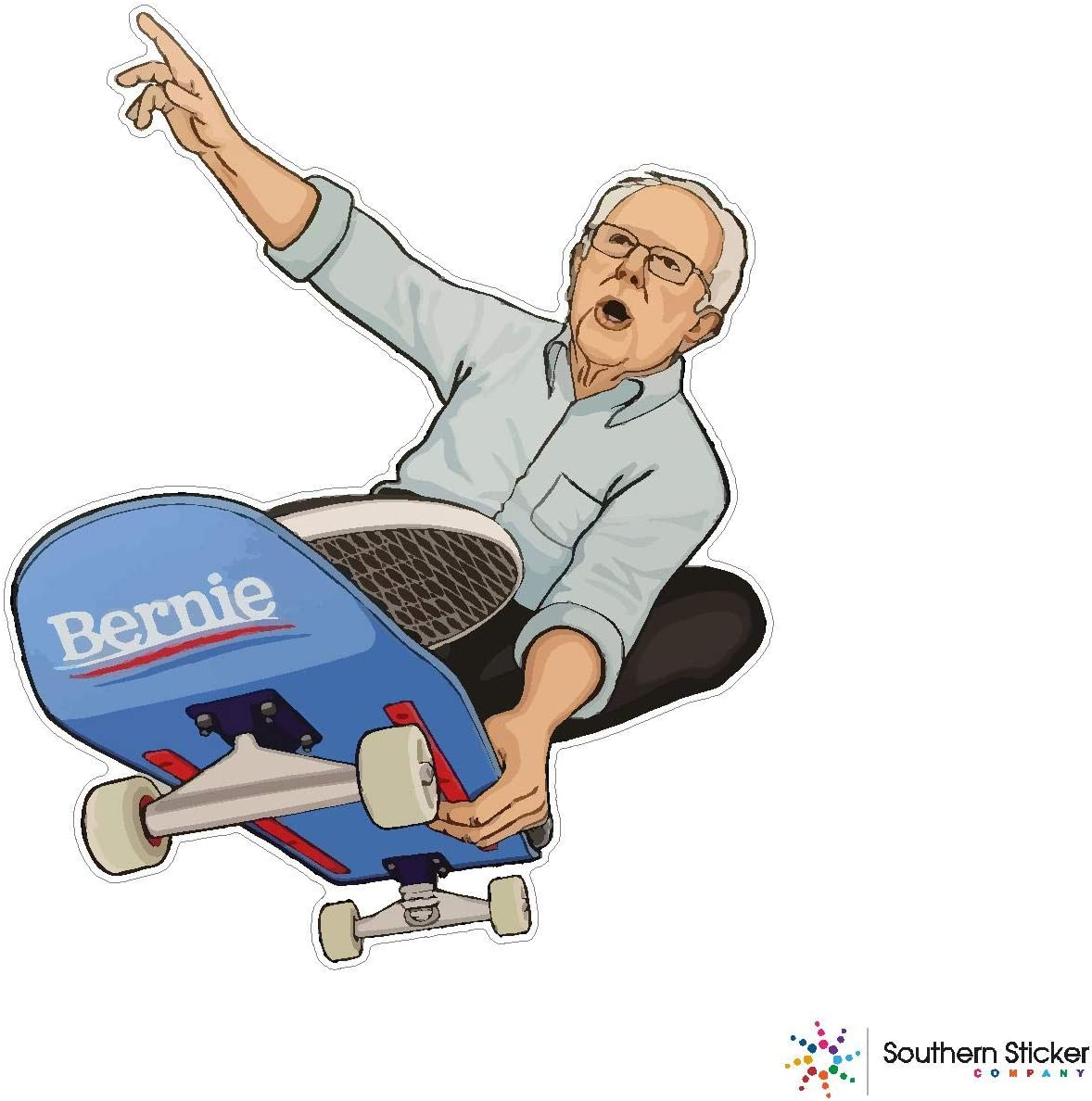 Bernie sanders skateboarding 3.9x4.5 inches Made and shipped in USA 2020 election USA flag funny stickers for pro union lunch box tool box symbol window travel jeep adventure wanderlust