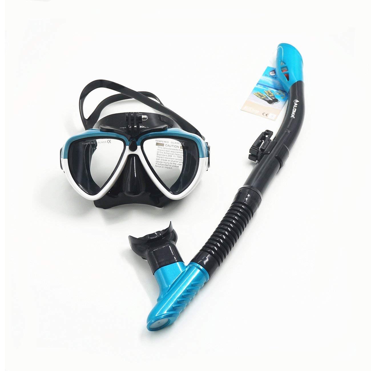 LasVogos in Silicone per Adulti Snorkel Set Mascherina di Immersione Subacquea Nuotata Subacquea Occhiali Snorkeling sfiato del Tubo di Salvataggio di Sopravvivenza AM206GP + 408