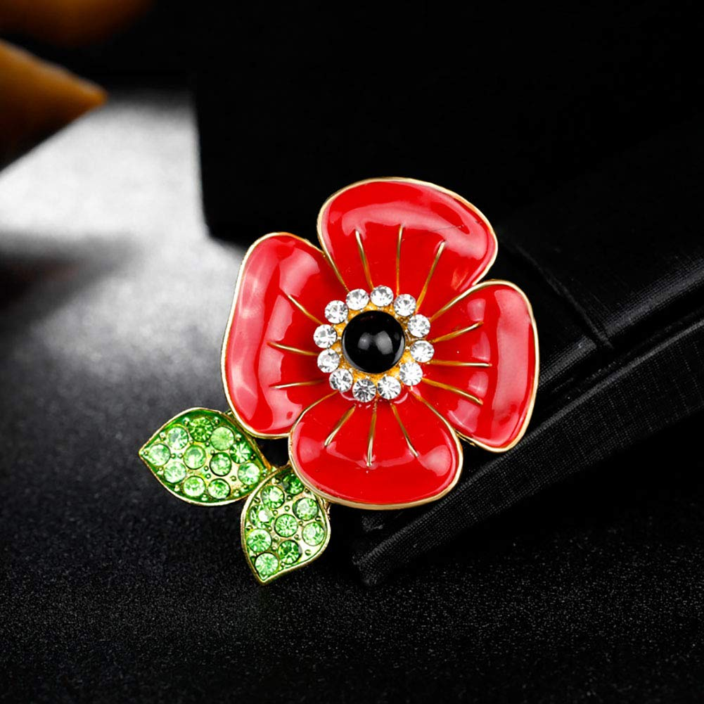 Red Poppy Flowers Brooch Pin Badge Glitter Soldier Enamel Lapel Plating Pin Gift Remembrance Day Gold Leaf