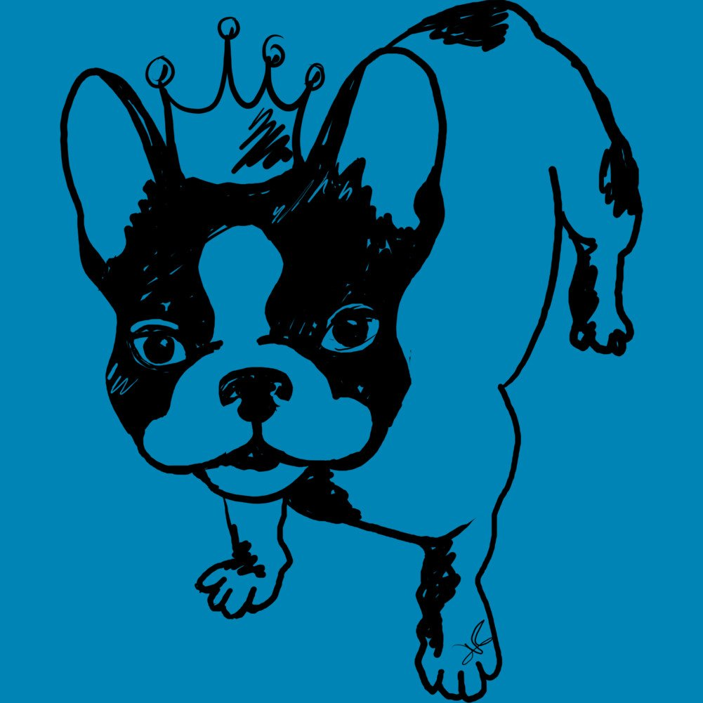 Design By Humans French bulldog with crown Mens Graphic Tank Top