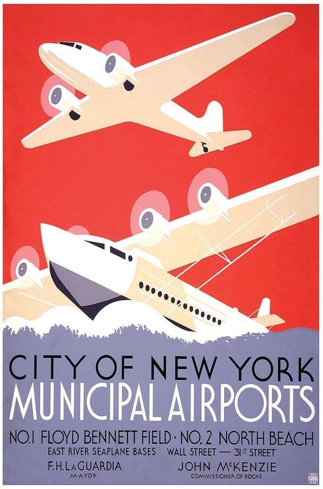 New York Municipal Airports Travel Poster Print New