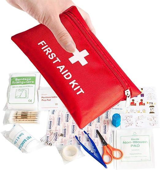 Botiquín Primeros Auxilios,Kits de Supervivencia de Emergencia Mini Primeros Auxilios 78 Pack Bolsa de Supervivencia Médica Incluye Tabletas de Vendaje Bastoncillos para Viajes Oficina Hogar Coche: Amazon.es: Hogar