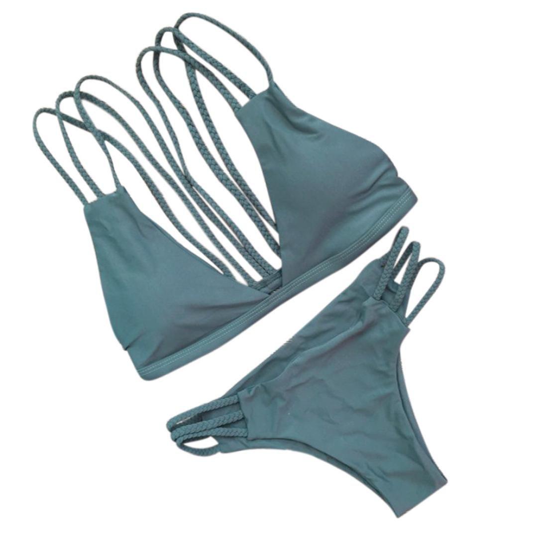 Hot Sale! AMA(TM) Women Sexy Women Bikini Set Swimwear Push-Up Padded Bra Swimsuit Beachwear (M, Green) by AMA(TM) (Image #3)