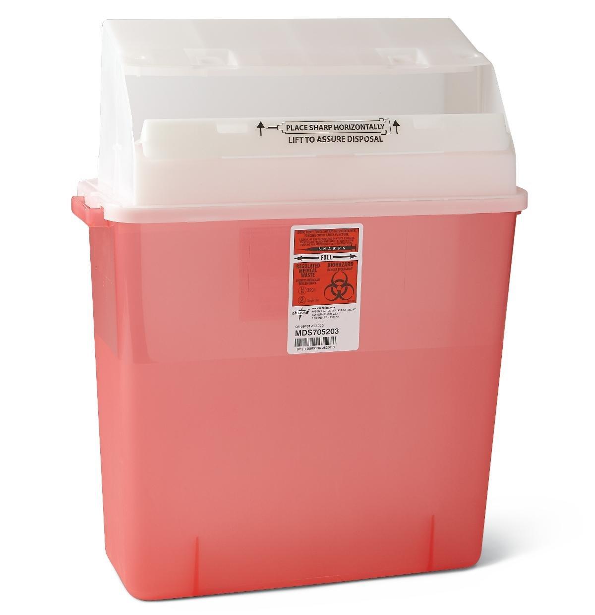 sharp disposal. amazon.com: medline mds705203h biohazard multi-purpose sharps containers, 3 gal, red: industrial \u0026 scientific sharp disposal