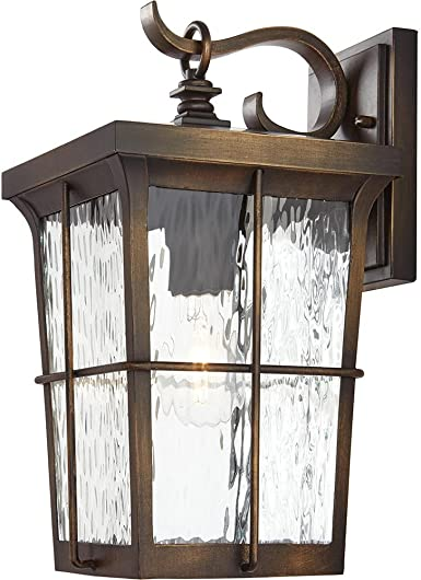 Home Decorators Collection 23482 1 Light Golden Bronze Outdoor 7 5 In Wall Mount Lantern With Clear Water Glass