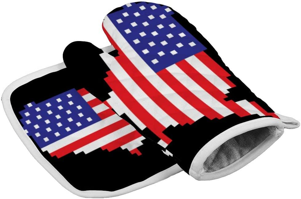 LijiahuaMitts Pixel USA Flag Patriotic 4th of July Gamer Gaming Heat Resistant Oven Mitts and Pot Holders,Safe Kitchen Cooking Baking Grilling