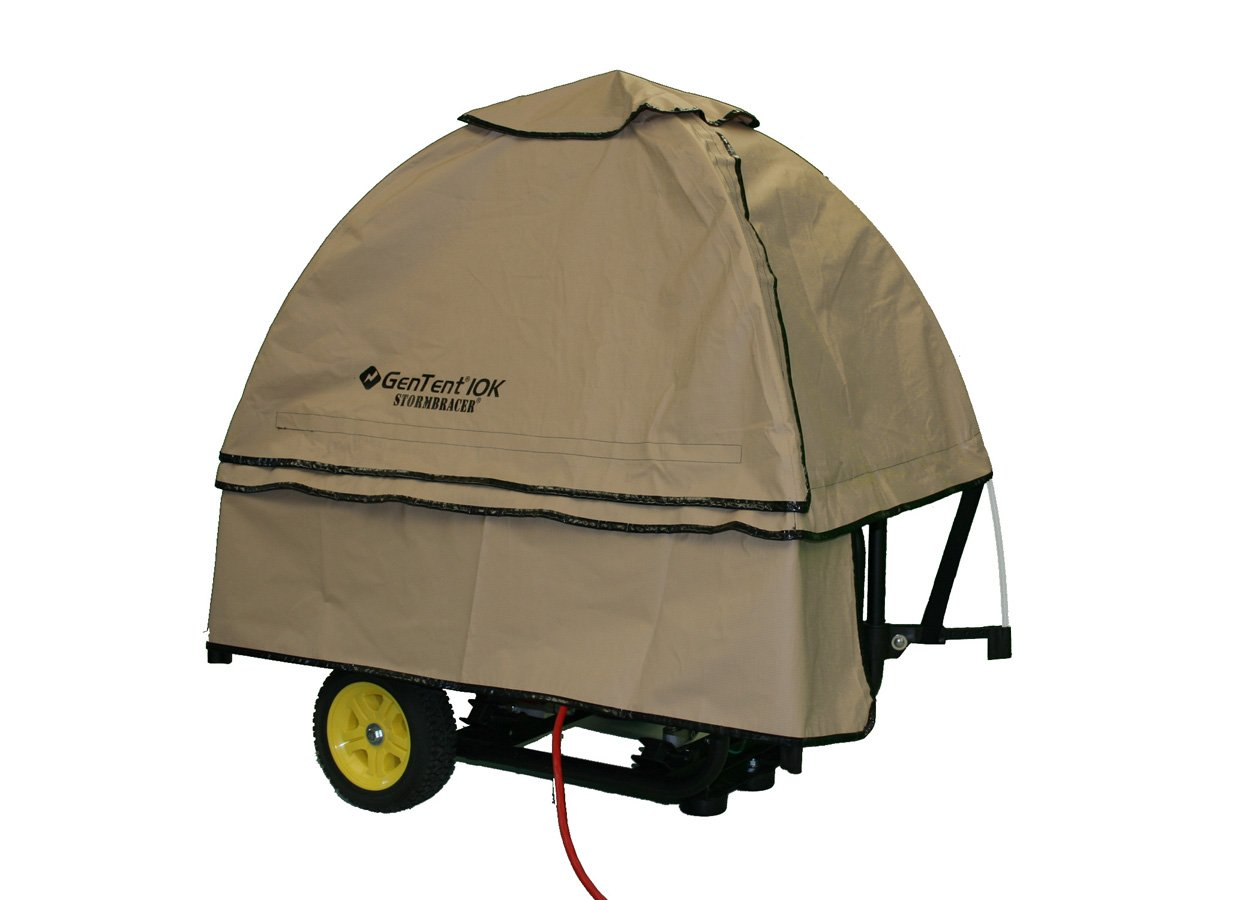 GenTent 10k Generator Tent Running Cover - Universal Kit (Standard, TanLight) - Compatible with 3000w-10000w Portable Generators by GenTent Safety Canopies (Image #1)