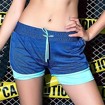 MAYUAN520 2 de 1 Sexy Yoga Shorts Malla Transpirable Overlay ...