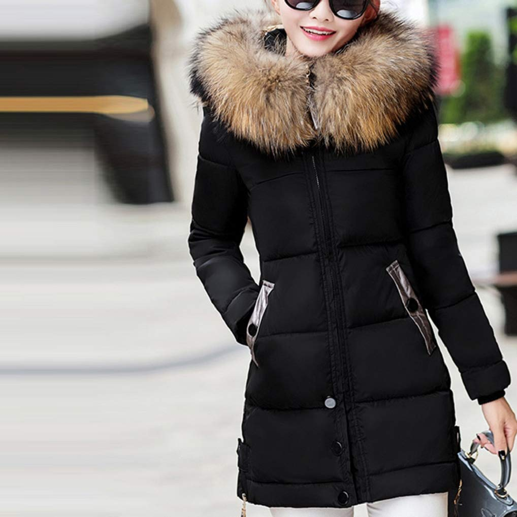 9ee502c61f Vêtements FNKDOR Doudoune Femme Hiver Chaud Longues Manteau avec Capuche Col  Fausse Fourrure Épais Zippé Parka ...