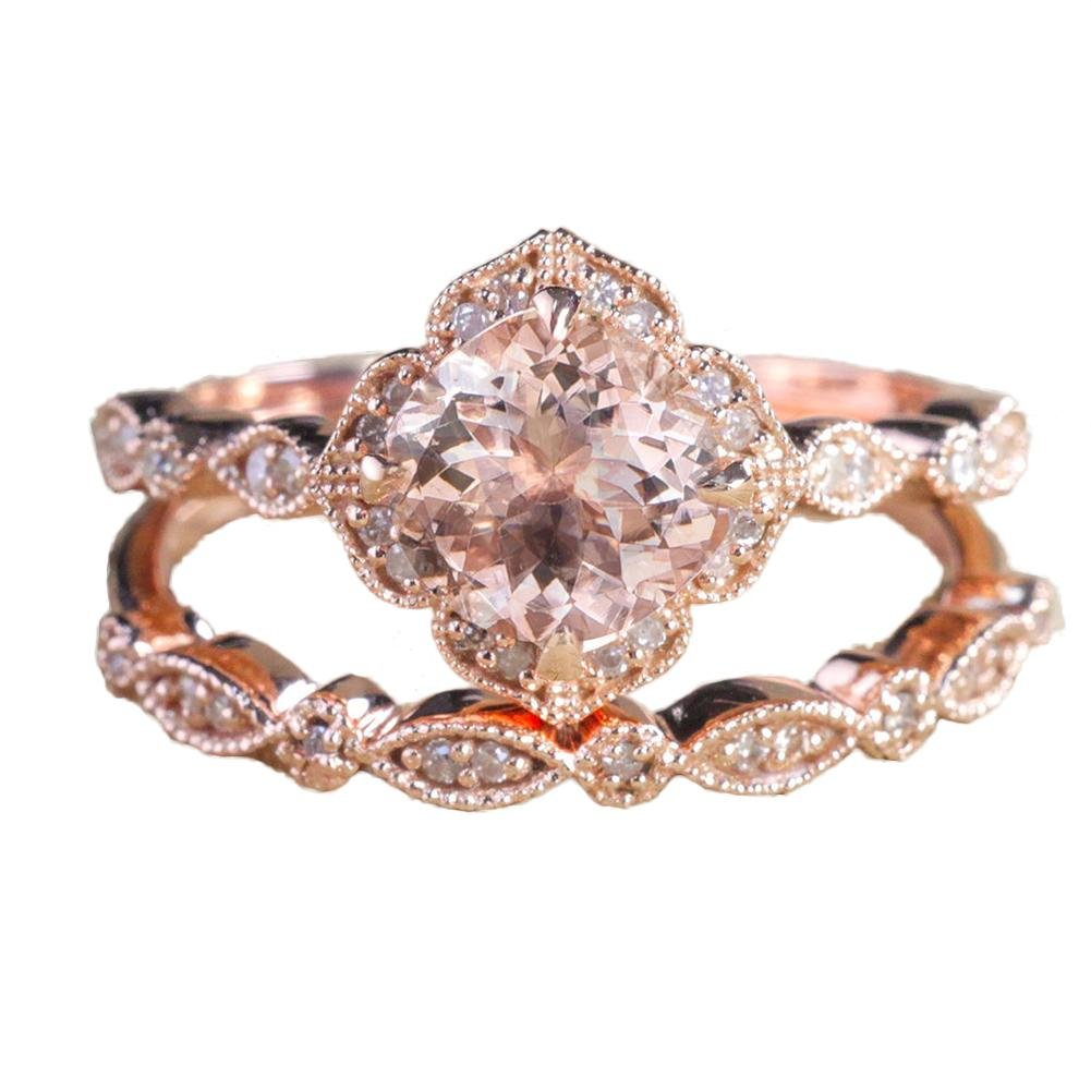 ZHUOTOP 2Pcs Rose Gold Color Round Floral Crystal Ring Set Luxury Shining