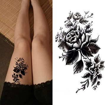 Black Rose Body Art Tatuajes temporales atractivos impermeables ...