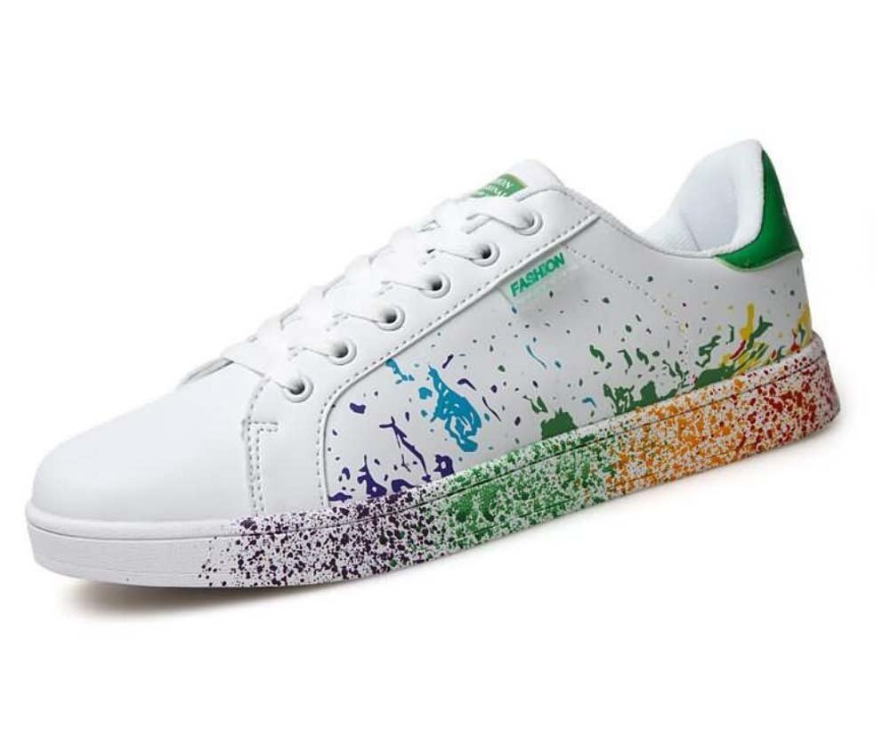 Unisex Bomba Placa Zapatos Pareja Casual Zapatos Colormatch Encaje hasta Resbalón En Snekers UE Tamaño 35-46,Green,37EU 37EU|Green