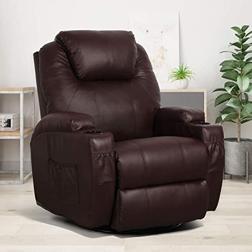 Esright Massage Recliner Chair Heated PU Leather Ergonomic Lounge Chair 360 Degree Swivel