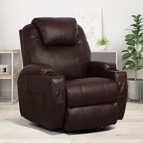 Esright Massage Recliner Chair Heated PU Leather Ergonomic Lounge Chair 360 Degree Swivel