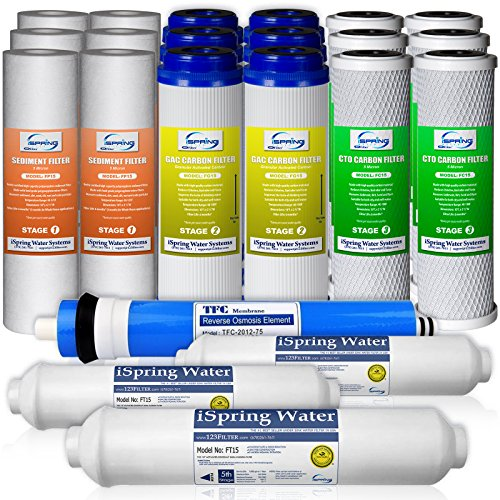 iSpring F22-75 3-Year Filter Replacement Supply Set For 5-Stage Reverse Osmosis Water Filtration Systems by iSpring