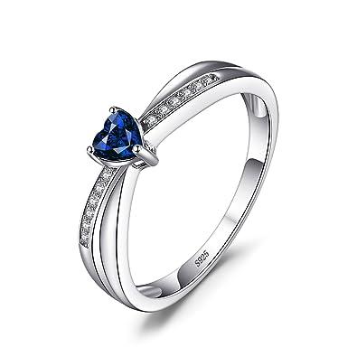 ba18066a310b JewelryPalace Anillo elegante de boda adornado Zafiro creado en forma de  corazón en plata de ley 925  Amazon.es  Joyería