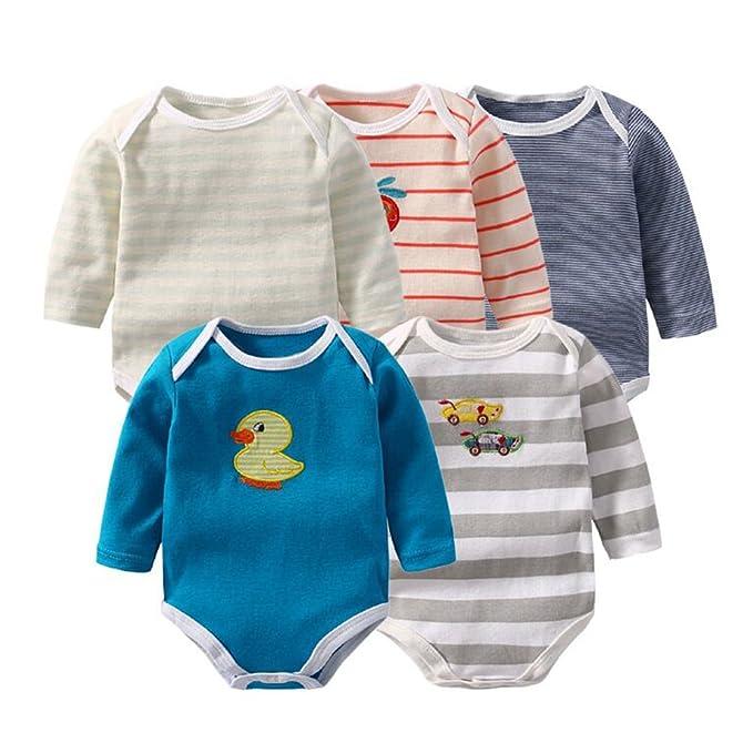 100% Qualitätsgarantie großer Rabattverkauf neue angebote junkai Packung mit 5 3-24 Baby Strampler Langarm Baby ...