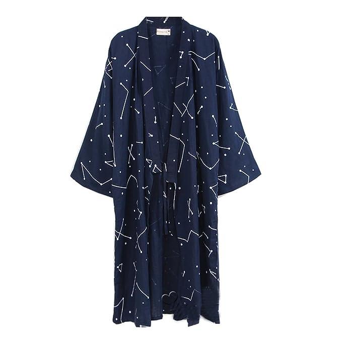 Bata de algodón japonesa para hombre Bata de Kimono de pijama - # 0A BkzooCA