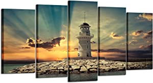 Kreative Arts - Large 5 Pieces Canvas Prints Wall Art Beautiful Landscape Lighthouse at Sunset Pictures Modern Home Decor Stretched Gallery Wrap Giclee Print Ready to Hang (Large Size 60x32inch)